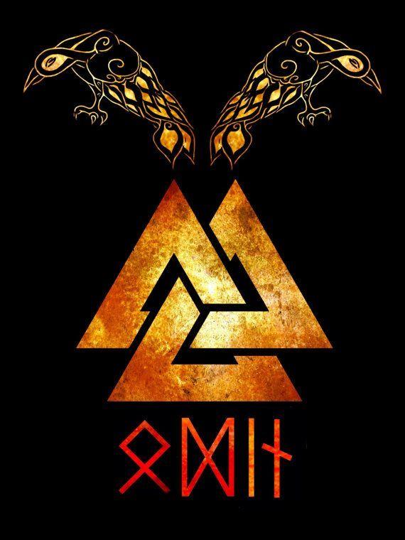 Odin's name spelled in runes. (source: https://www.etsy.com/listing/212771965/odins-ravens-mens-t-shirt)