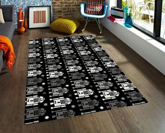 Kids Rug, Star Wars rug, R2D2 rug, carpet, modern rug, contemporary rug, nursery rug, area rugs, boyfriend gifts, black and grey, robot rug