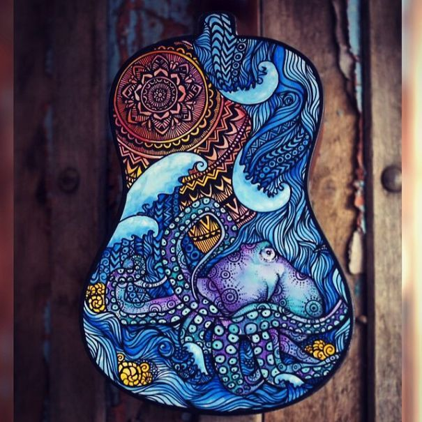 strumenti musicali decorati chitarre artista decorazione pittura 7a
