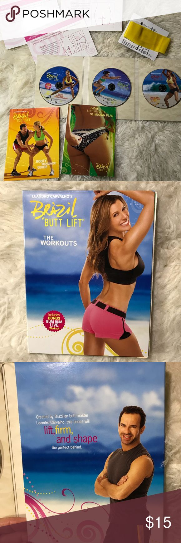 Beachbody Brazilian Butt Lift DVDs By Leandro Carvalho the Brazilian butt master with Team Beachbody. 3 workout DVDs for getting that Brazilian Butt all girls want. This will lift, firm, and shape the perfect behind. Includes the yellow band, the booty makeover guide, & a 6 day super model slim down plan. Preowned but all disc are in good working condition. Over $52 value. Get it now for a low price. beachbody Other