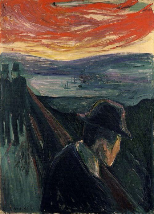Lonely not fitting in. It looks this way because there to people looking at him and talking like there saying mean things to him and he looks alone.  Edvard munch