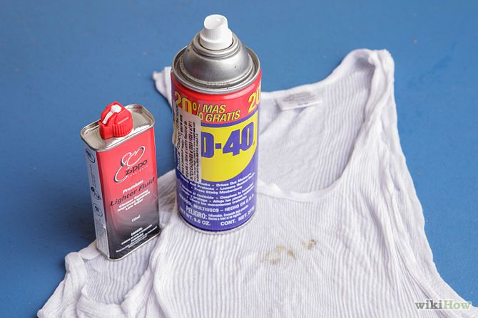 Remove Grease or Oil Stains from Clothing with WD-40 or lighter fluid.