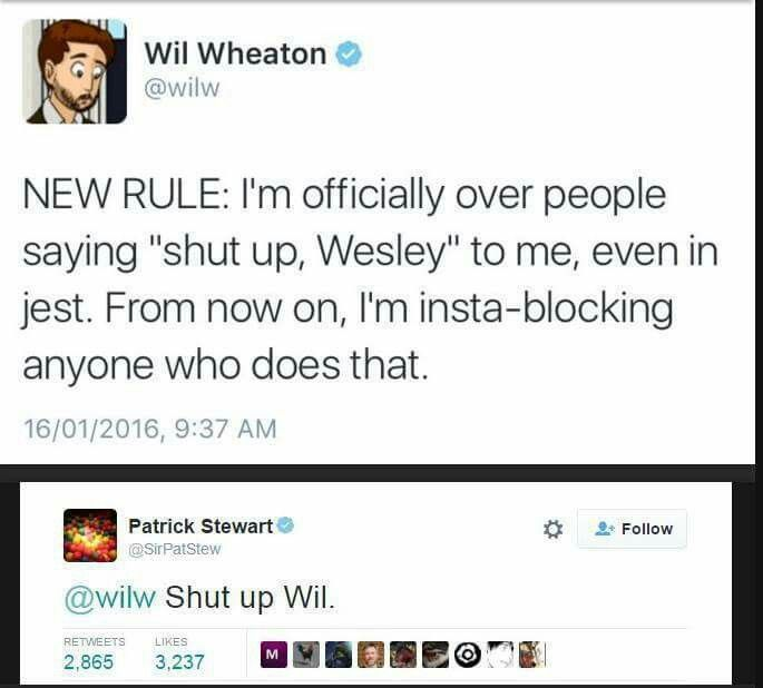 Wil Wheaton and Patrick Stewart - Hilarious.