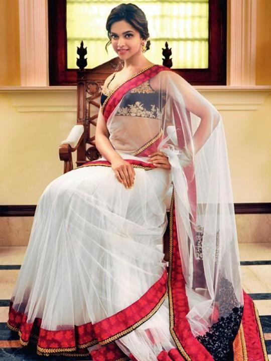 Deepika Padukone in red and white