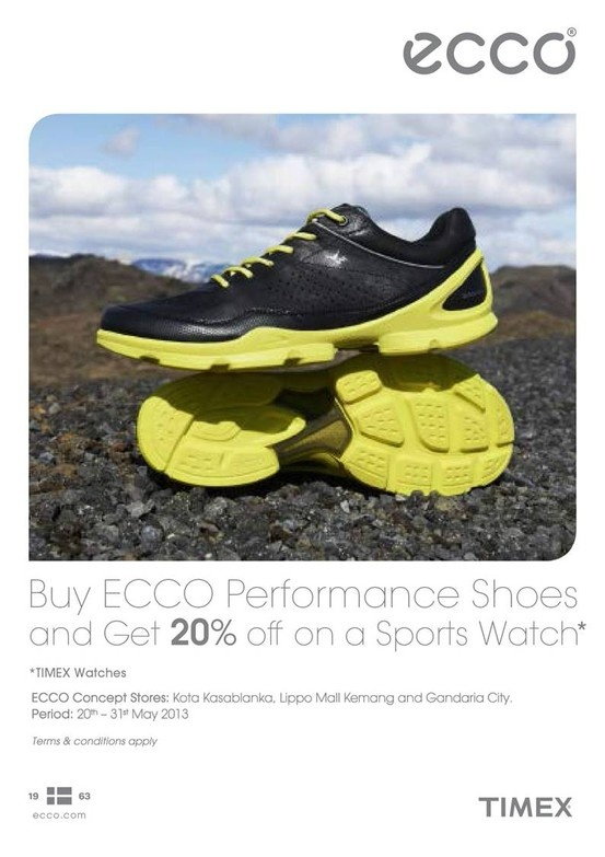 Buy Ecco and get 20% off at Timex outlets!*
