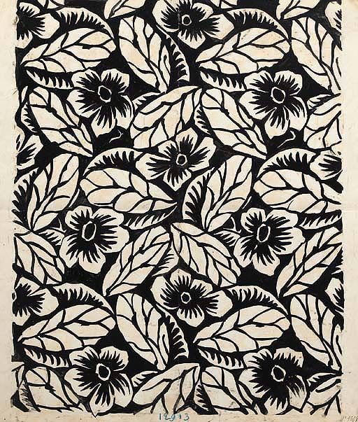 Raoul Dufy, Design no. 12913, a flower and veined leaf design, black bodycolour on paper - 58 x 50cm.