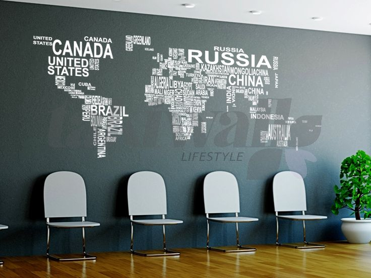 modern wall decals map of word - Google Search