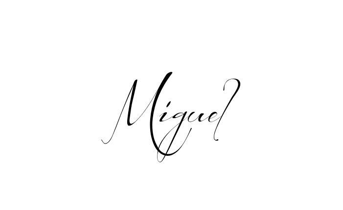 Tatuagem do nome Miguel utilizando o estilo Before the Rain Regular