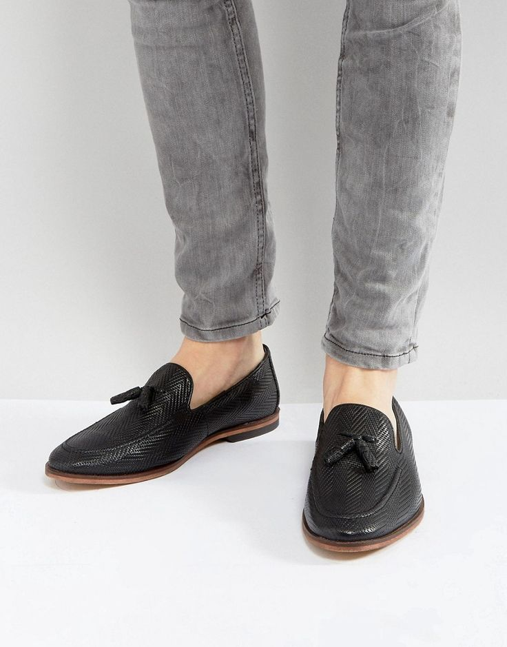 ASOS Loafers In Black Woven Leather - Black
