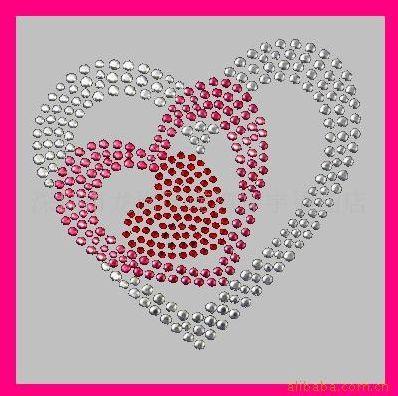 cœurs imbriqués en strass / hotfix motif, iron on motif, rhinestone motif, rhinestone transfer