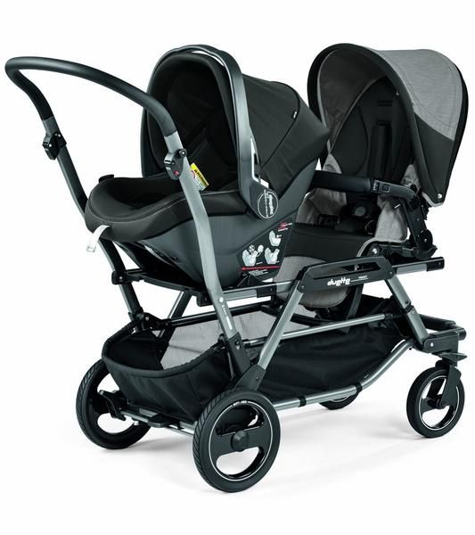 The Peg-Perego Duette Piroet is a versatile double stroller that offers numerous seating positions for twins or siblings of different ages. Parents can mix and match infant car seats, bassinets and stroller seats, and reverse them so that children face them, each other or the road ahead. The Duette Piroet folds compactly with stroller seats attached (and even more so with the seats detached).     Features  Can hold two Primo Viaggio infant car seats, no adapters required Seats can be…