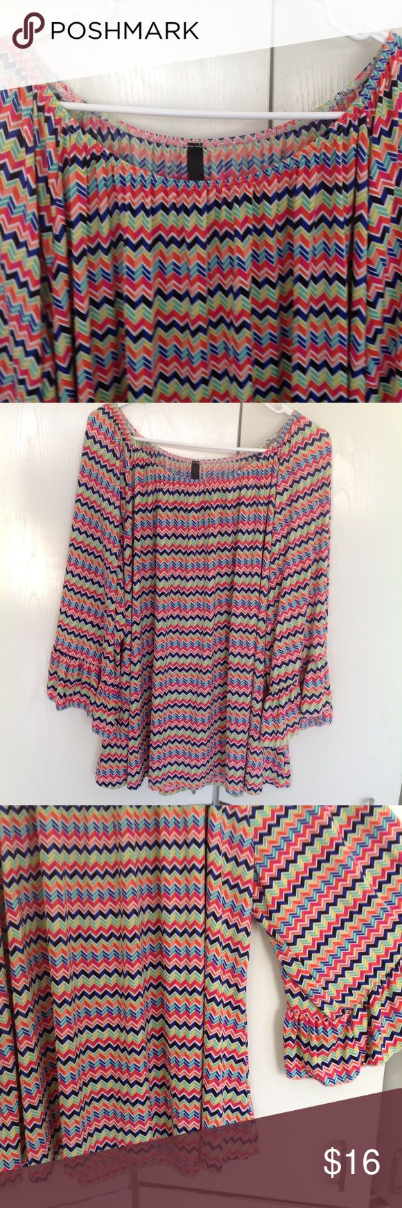 "Plus size colorful chevron top Reposh - I bought this beautiful top for vacation to wear with white pants but it was just not my size.  It is SO gorgeous !!! I wish it fit!!! Measures 29"" across chest and 28"" in length. voll Tops Blouses"