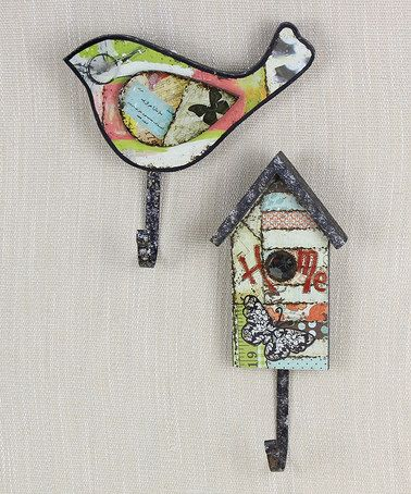 Bird & Birdhouse Wall Hook Set #zulilyfinds