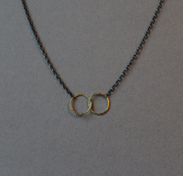 Oxidised silver and 18ct gold Linked Halo necklace £56.00