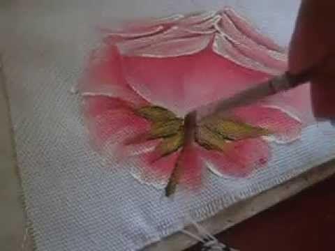 Vida com Arte | Pano de copa pintura rosas e hortências por Luis Moreira - 28 de janeiro de 2016 - YouTube