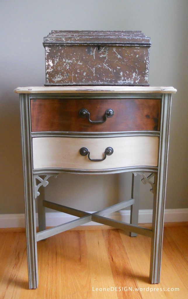 Chalk Painted and Distressed two-toned Accent Table