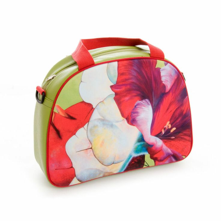 """Artbag """"Limegreen"""" displays Dutch floral art on outdoor textile on one side of the bag. Shoulder bag with detachable handles, zipper inside. Four studs on the bottom of the bag help it stand upright. Limegreen-coloured artificial leather, with red hand- and shoulder straps. Price: 60 euro excl transport costs. Order via info@florifique.com."""