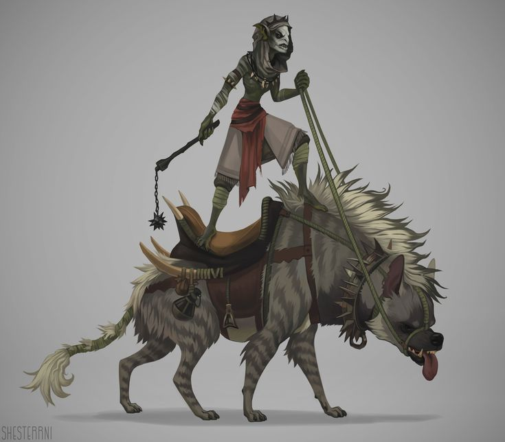 Hyena rider, Shesterrni Gray on ArtStation at https://www.artstation.com/artwork/ovrwz