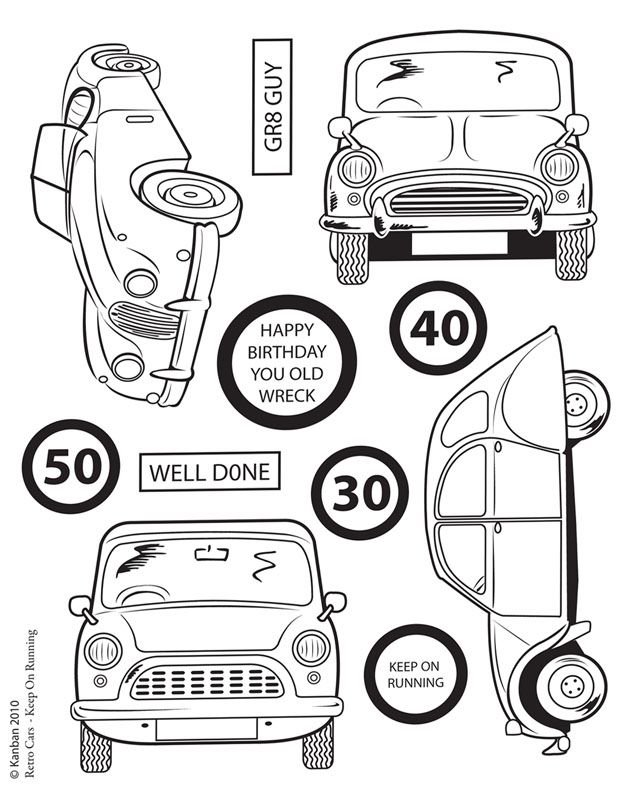 Kanban clear rubber stamps - Retro Cars - Keep on Running