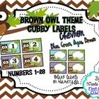 Cubby Labels 1-28 Brown Owl Chevron (Blue, Green, Aqua, Brown)