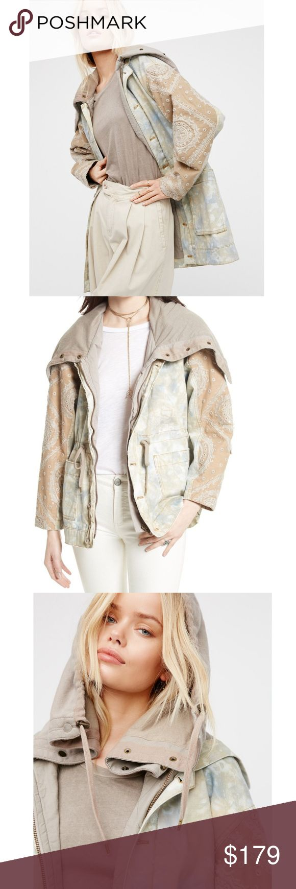 Free People Hooded Layered Tie dye parka Boho-inspired tie dye parka featuring beautiful embroidery along the sleeves and an effortlessly layered look with a doubled hood detail.  Drawstring at the waist Front button and zipper closures Two large front pockets Lined 100% Cotton Machine Wash Cold. Nwt fits like a 10. Free People Jackets & Coats