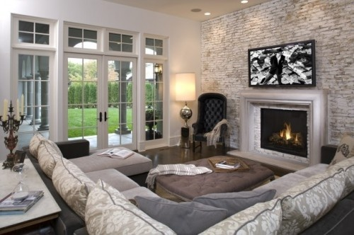couch: Decor, Ideas, Livingrooms, Living Rooms, Dream House, Family Rooms, Brick Walls, Room Design, Fireplace