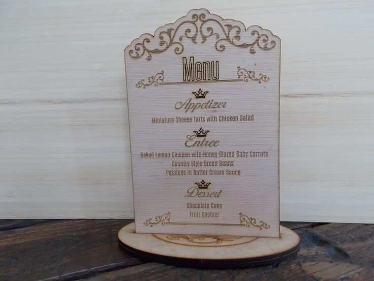 "Wooden laser cut ""Table Talker"" or Menu. Also available in clear Perspex."
