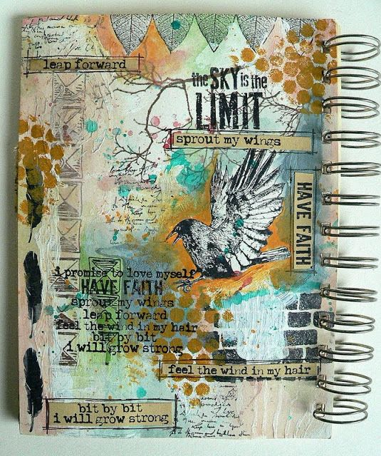 brown dots are dry ink pounced - Von Pappe II: Another Art Journal Page