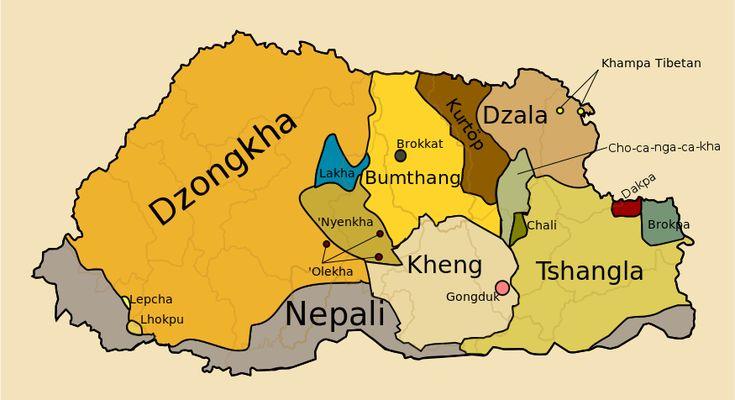 ブータンの言語分布 Languages of Bhutan with labels ◆ブータン - Wikipedia http://ja.wikipedia.org/wiki/%E3%83%96%E3%83%BC%E3%82%BF%E3%83%B3 #Bhutan