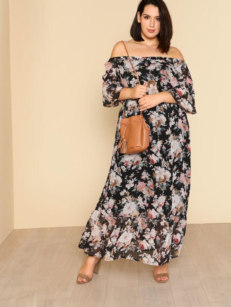 Shop Ruffle Hem Floral Bardot Dress online. SheIn offers Ruffle Hem Floral Bardot Dress & more to fit your fashionable needs.