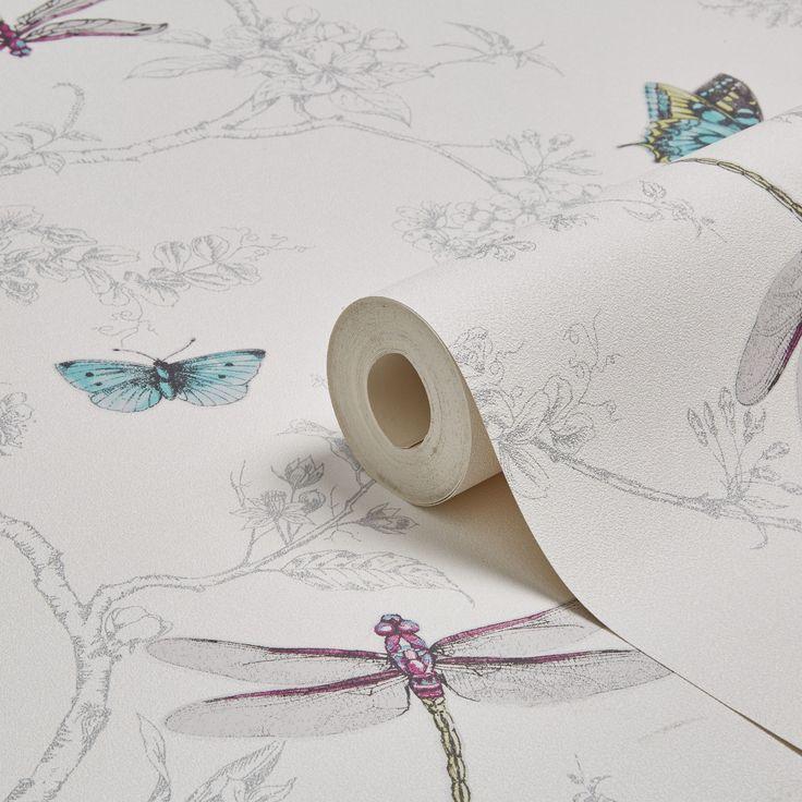 Graham & Brown Contour White & Silver Nature Trail Kitchen & Bathroom Wallpaper | Departments | DIY at B&Q