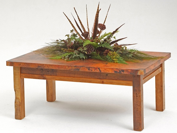 Hand Hammered Copper Coffee Table with Barnwood Farm Base - Item # CT03012 - 17 Standard Barnwood Color & 1000 Custom Color Options - Custom Sizes Available - Eco-Friendly Recycled Copper, Reclaimed Wood & Forged Iron