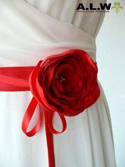 Romantischer Seidengürtel in Rot - SEIDE!!!