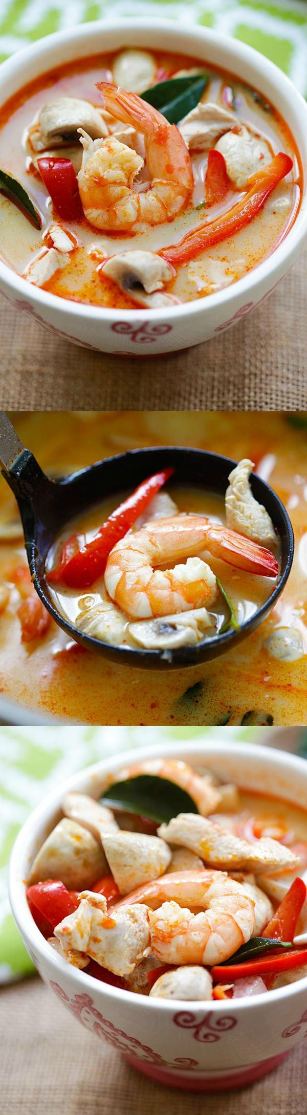 Thai Coconut Chicken and Shrimp Soup – the best soup you'll ever make in your kitchen. This soup is to-die-for, better than Thai takeout!   rasamalaysia.com