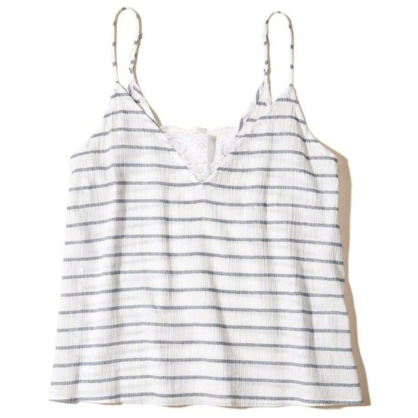 Hollister Must-Have Easy Lace Tank (£12) ❤ liked on Polyvore featuring tops, shirts, white stripe, print tank, striped tank top, white singlet, white tops and lace tank top