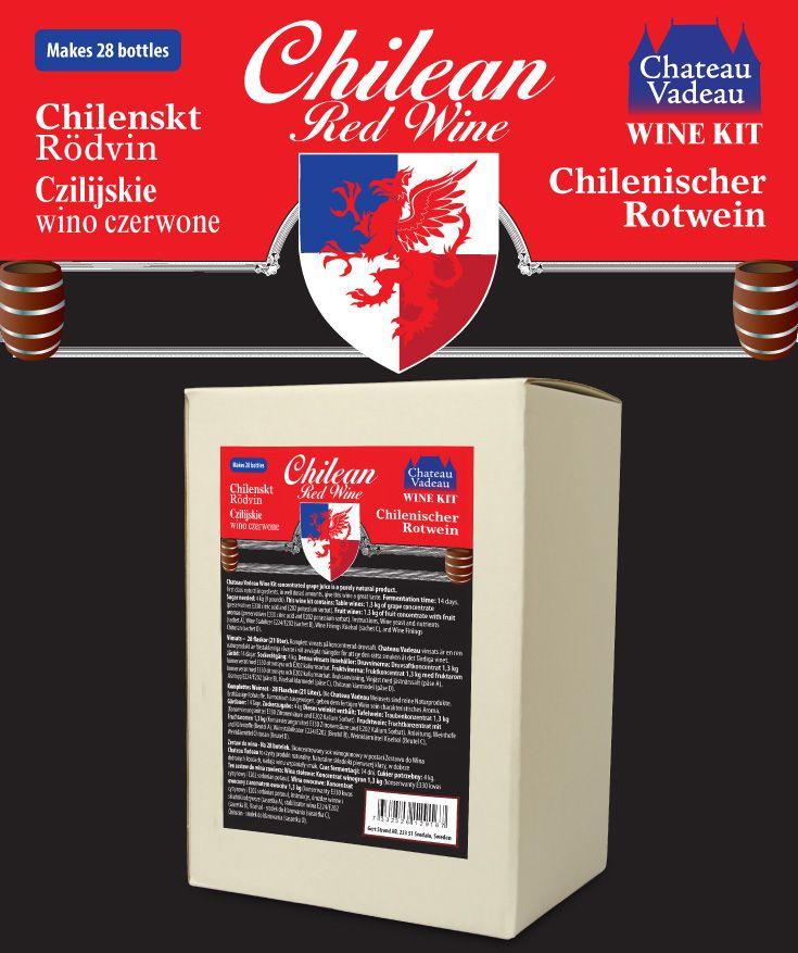 Chateau Vadeau Chilenskt Rödvin vinsats Ger 21 liter - 28 flaskor a 75 cl - lättdrucket bordvin. Tillsätt vatten och 4 kg socker. Alla andra ingredienser medföljer.