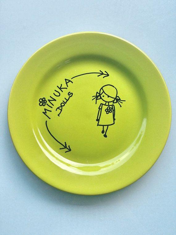 Dinner platehousekidshomewaremenaje por MirrorsQueen en Etsy