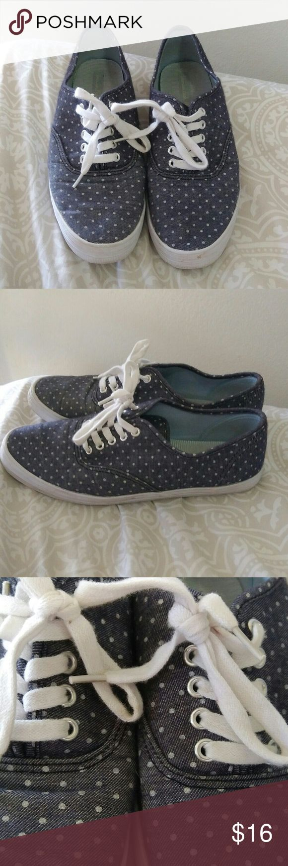 American Eagle polka dot sneakers Jean blue sneakers with cute white polkadots size 8. Reasonable offers are accepted. American Eagle Outfitters Shoes Sneakers