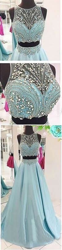 2 Piece Prom Gown,Two Piece Prom Dresses,Long Prom Dresses, Evening Gowns,2 Pieces Party Dresses,Evening Gowns,Sparkle Formal Dress For Teens