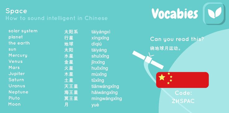 'How to sound intelligent in Chinese' by Vocabies app  Space  Use the code to download the words in Vocabies app and learn them there!