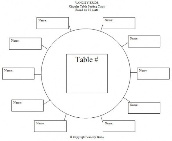 Circular Table Chart for 10 Guests   Weddings and such in