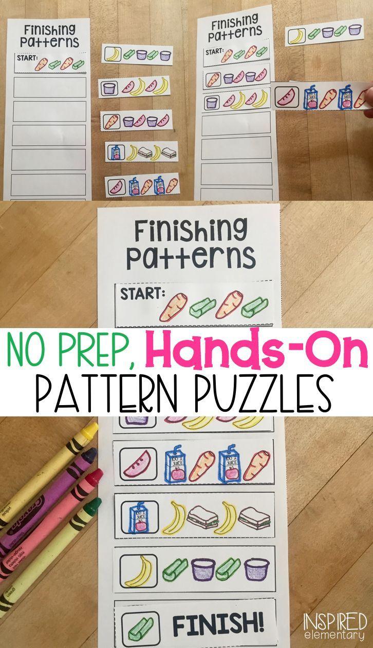 Solve It Strips Finishing Patterns Kindergarten Patterns Math