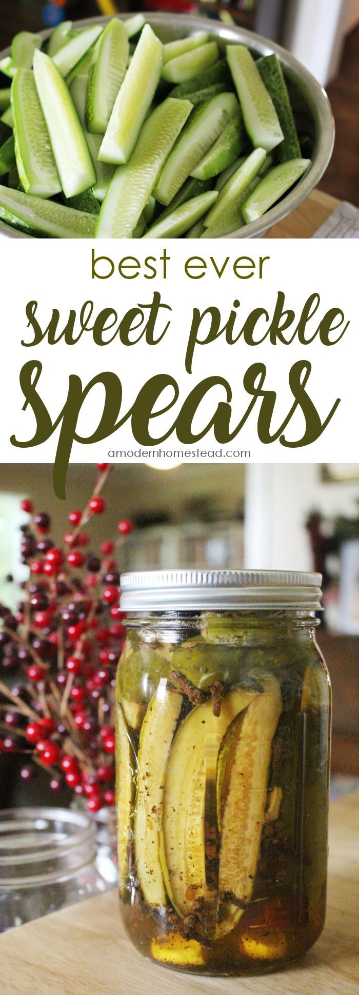 Wondering how to make crispy, rich, and delicious sweet pickles for canning? This recipe was an instant winner for us and I bet that once you taste it, you'll be adding this sweet pickle recipe to you