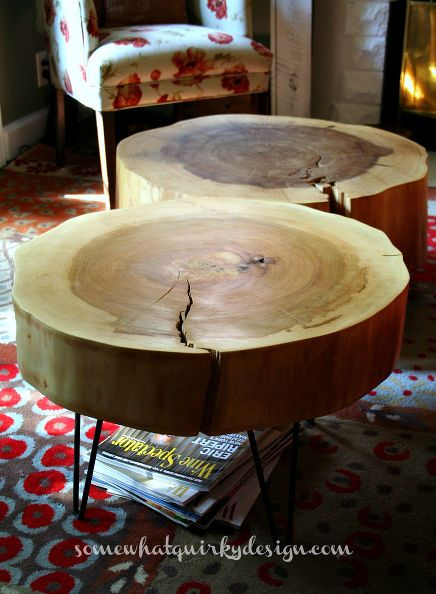 these tables i made from large tree slices make me happy, diy, repurposing upcycling, rustic furniture
