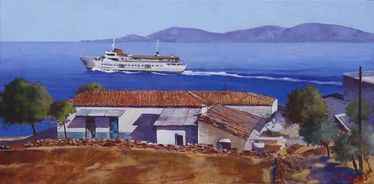 SARONIC LINER 40X80 cm oil painting by Babis Douzepis