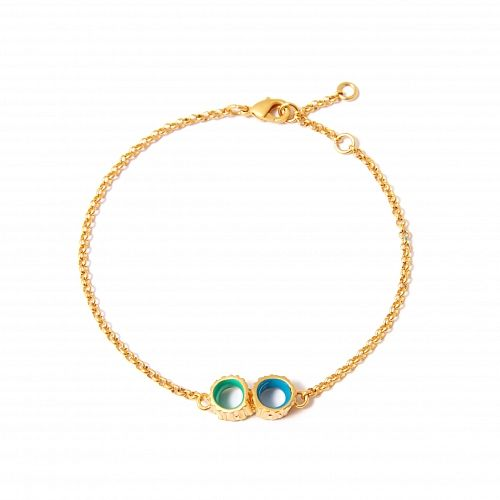 Позолоченный браслет-цепочка Anemona с сине-зелеными подвесками - купить за 3 400 руб. в Москве