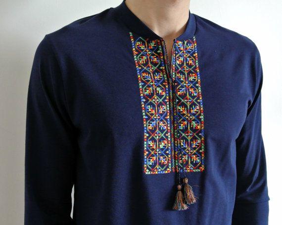 Ukrainian embroidered shirt for man sorochka vyshyvanka of cotton linen 5 color