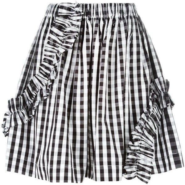 MSGM gingham check skirt ($260) ❤ liked on Polyvore featuring skirts, black, print skirt, msgm skirt, striped cotton skirt, patterned skirts and cotton elastic waist skirts