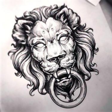 Black Lion Head Tattoo Design