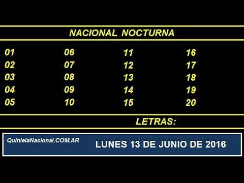 Quiniela Nacional Nocturna Lunes 13 de Junio de 2016 www.quinielanacional.com.ar
